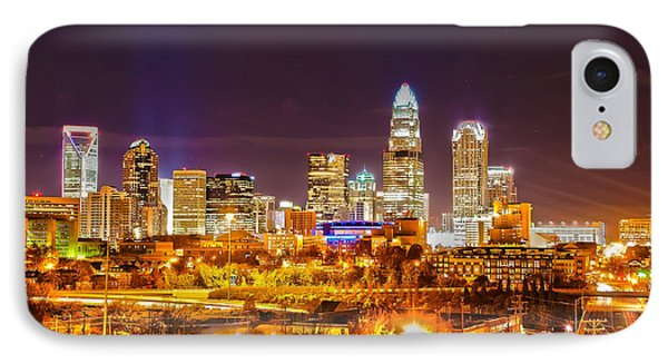 IPhone Case featuring the photograph Skyline Of Uptown Charlotte North Carolina At Night by Alex Grichenko