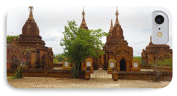IPhone Case featuring the photograph Smaller Temples Next To Dhammayazika Pagoda Built In 1196 By King Narapatisithu Bagan Burma by Ralph A  Ledergerber-Photography