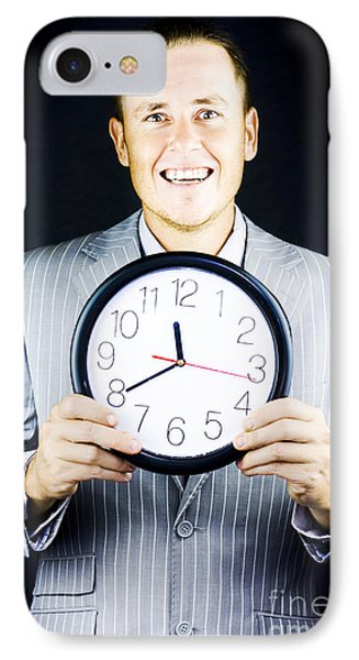 Smiling Man In Suit Holding A Clock IPhone Case by Jorgo Photography - Wall Art Gallery