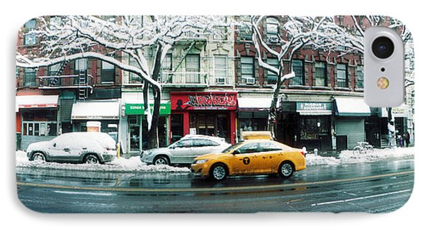 Snow Covered Cars Parked On The Street IPhone Case by Panoramic Images