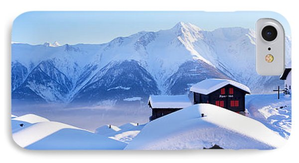 Snow Covered Chapel And Chalets Swiss IPhone Case by Panoramic Images