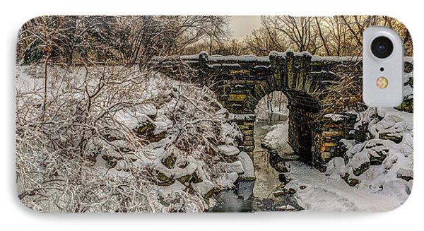 Snow-covered Glen Span Arch, Central IPhone Case by F. M. Kearney