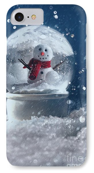 Snow Globe In A Snowy Winter Scene IPhone Case by Sandra Cunningham