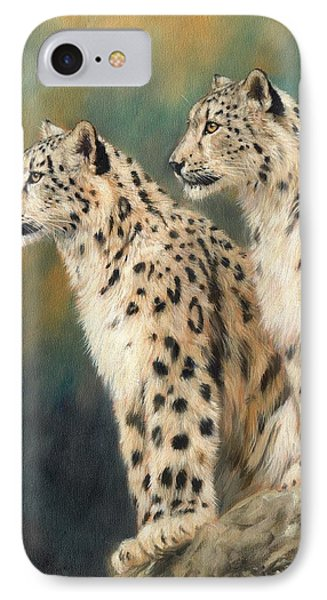 Snow Leopards IPhone Case by David Stribbling