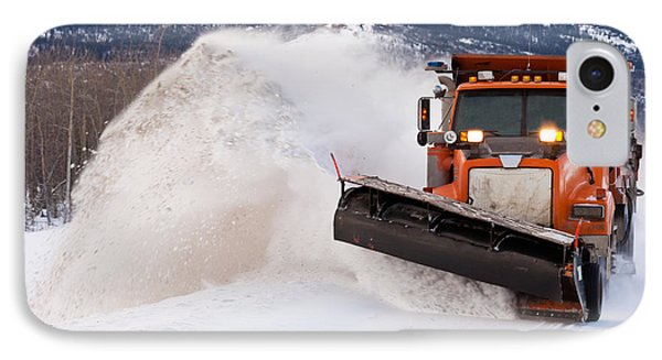 Snow Plough Clearing Road In Winter Storm Blizzard Phone Case by Stephan Pietzko