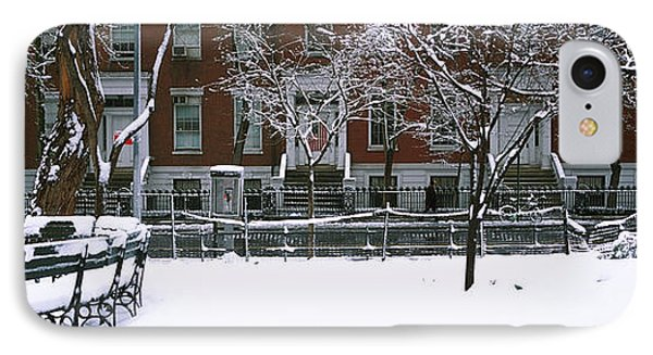 Snowcapped Benches In A Park IPhone Case