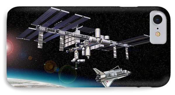 Space Station In Orbit Around Earth Phone Case by Leonello Calvetti