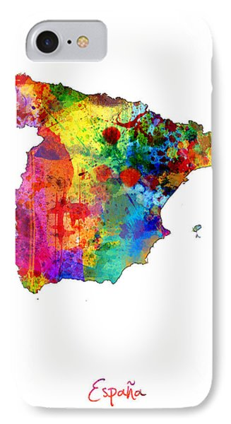 Spain Watercolor Map IPhone Case by Michael Tompsett