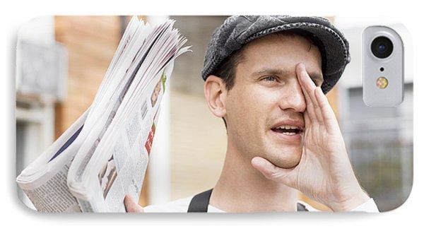 Spruiking Newspaper Boy IPhone Case by Jorgo Photography - Wall Art Gallery