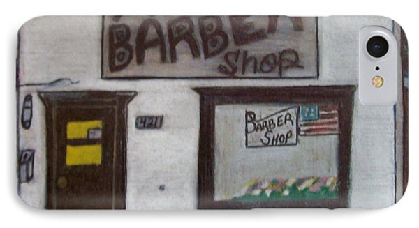 IPhone Case featuring the mixed media Stans Barber Shop Menominee by Jonathon Hansen