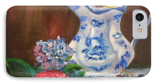 IPhone Case featuring the painting Still Life With Blue And White Pitcher by Jenny Lee