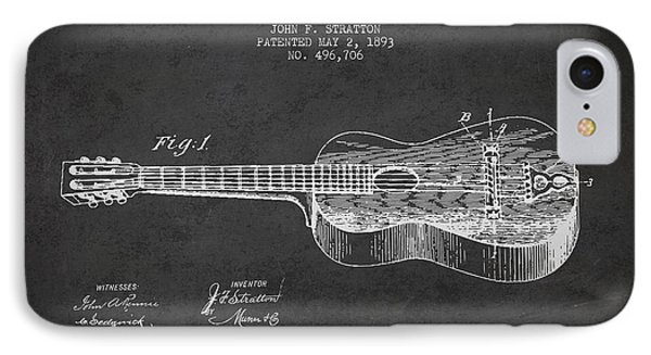 Stratton Guitar Patent Drawing From 1893 IPhone Case by Aged Pixel