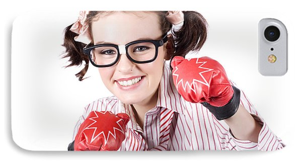 Strong Driven Business Woman Wearing Boxing Gloves IPhone Case by Jorgo Photography - Wall Art Gallery