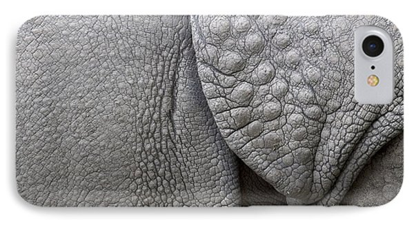 Structure Of The Skin Of An Indian Rhinoceros In A Zoo In The Netherlands Phone Case by Ronald Jansen
