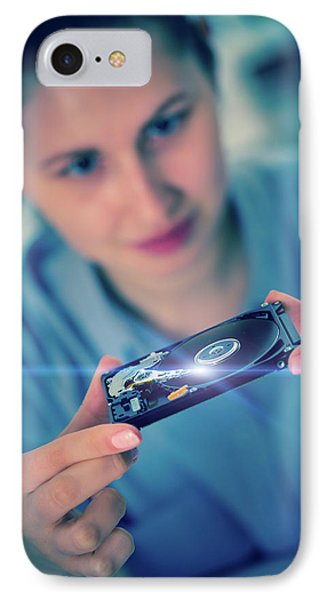 Student Holding Hdd IPhone Case by Wladimir Bulgar