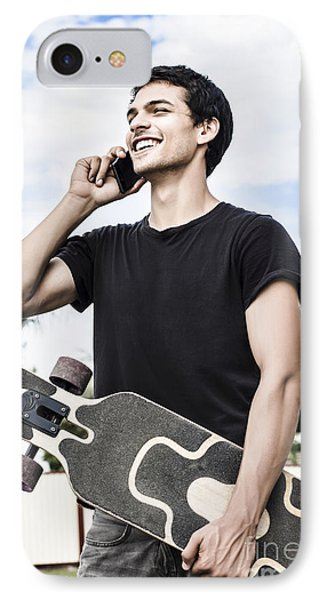 Student Talking To A Friend On Mobile Smartphone IPhone Case by Jorgo Photography - Wall Art Gallery