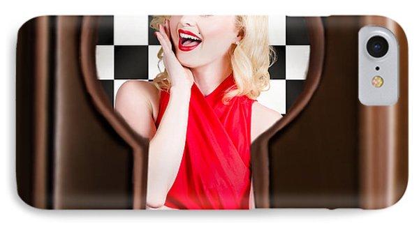 Stylish Surprised Women Portrait. Pinup Secret IPhone Case