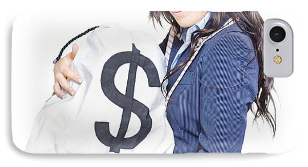 Successful Business Woman Holding Bags Of Money IPhone Case