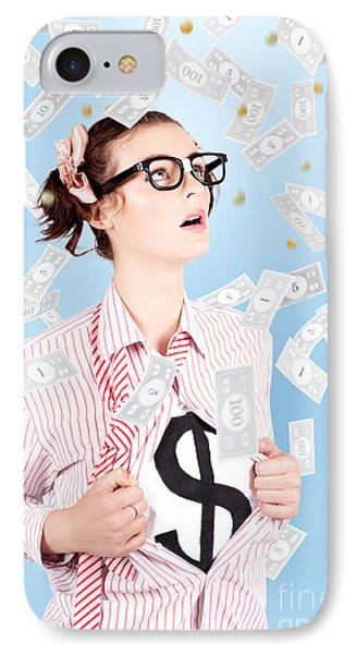 Successful Female Business Superhero Winning Money IPhone Case