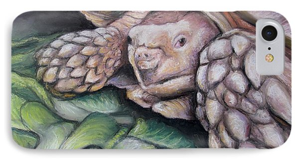 IPhone Case featuring the painting Sulcata Tortoise by Melinda Saminski