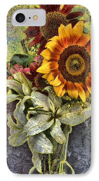 IPhone Case featuring the mixed media Sunflower Et Al. by Terence Morrissey