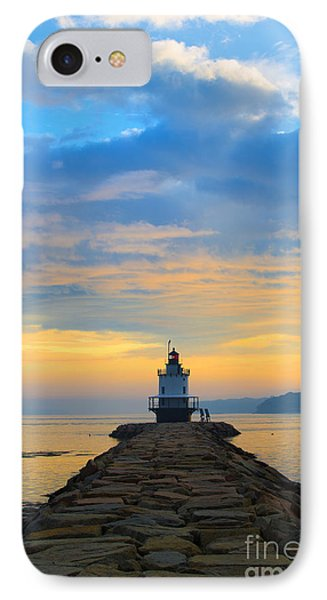Sunrise At Spring Point Lighthouse Phone Case by Diane Diederich