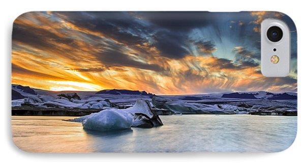 sunset at Jokulsarlon iceland IPhone Case