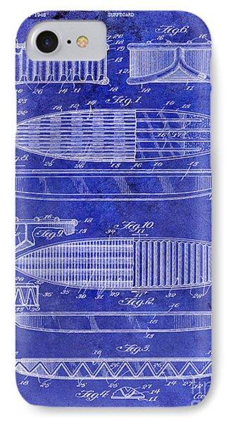 Surfboard Patent Drawing 1950 Blue IPhone Case by Jon Neidert