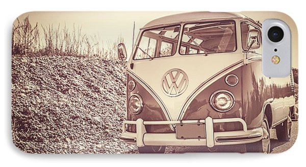 Surfer's Vintage Vw Samba Bus At The Beach Phone Case by Edward Fielding