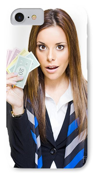Surprised Young Business Woman Holding Fan Of Money IPhone Case