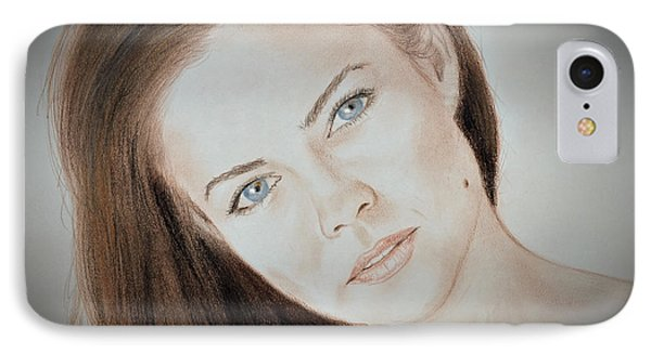 Actress And Model Susan Ward Blue Eyed Beauty With A Mole IPhone Case by Jim Fitzpatrick