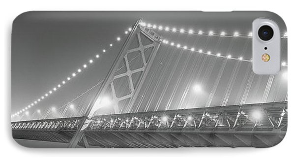 Suspension Bridge Lit Up At Night, Bay IPhone Case by Panoramic Images