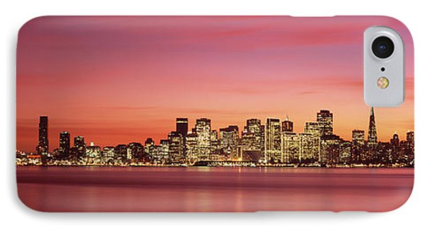 Suspension Bridge With City Skyline IPhone Case by Panoramic Images