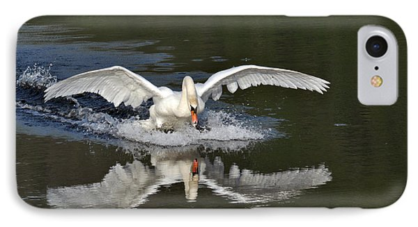 IPhone Case featuring the photograph Swan Landing by Simona Ghidini