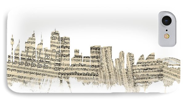 Sydney Australia Skyline Sheet Music Cityscape IPhone 7 Case by Michael Tompsett