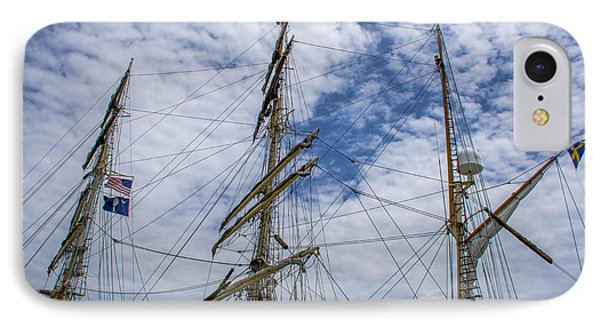 Tall Ship Three Mast  IPhone Case by Dale Powell