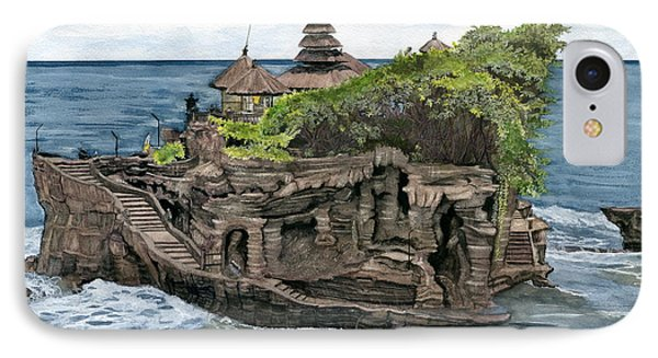 IPhone Case featuring the painting Tanah Lot Temple Bali Indonesia by Melly Terpening