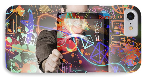 Technology Man With Network On Digital Tablet IPhone Case by Jorgo Photography - Wall Art Gallery
