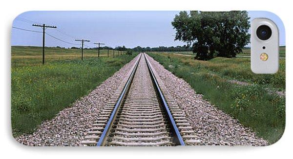 Telephone Poles Along A Railroad Track IPhone Case