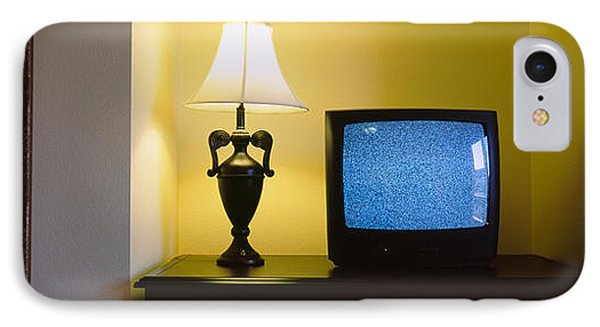 Television And Lamp In A Hotel Room IPhone Case