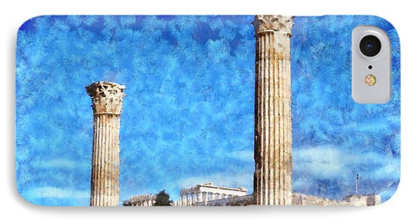 Temple Of Olympian Zeus And Acropolis Phone Case by George Atsametakis