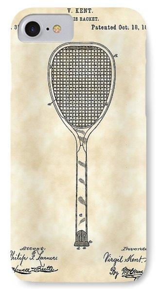 Tennis Racket Patent 1887 - Vintage IPhone Case