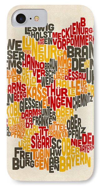 Text Map Of Germany Map Phone Case by Michael Tompsett