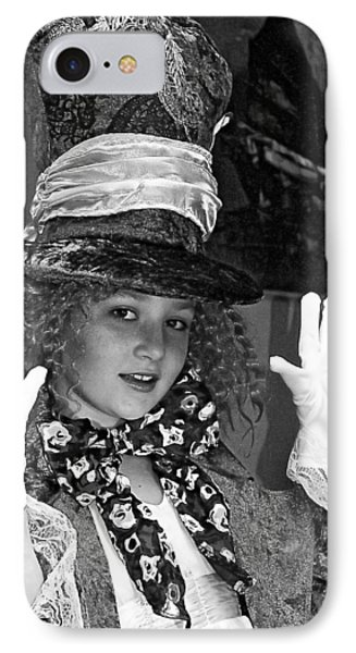 The Mad Hatter Bw IPhone Case by Norman Johnson