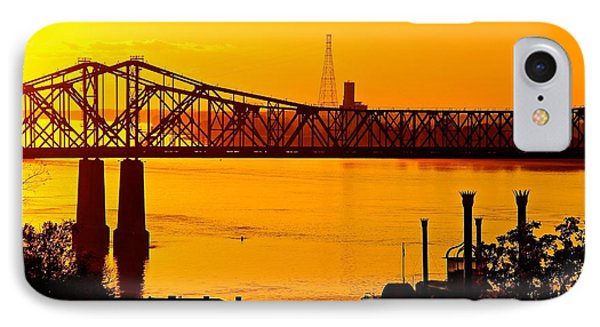 IPhone Case featuring the photograph The Mississippi River Bridge At Natchez At Sunset.  by Jim Albritton