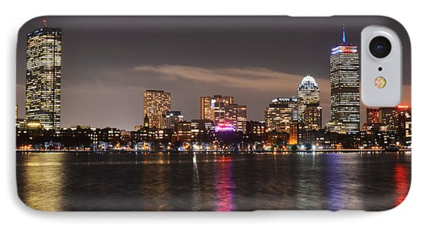 The Prudential Lit Up In Red White And Blue IPhone Case by Toby McGuire