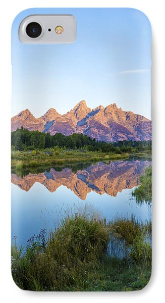 The Tetons Reflected On Schwabachers Landing - Grand Teton National Park Wyoming Phone Case by Brian Harig