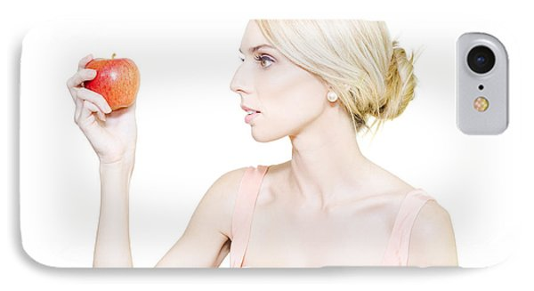 Thin Undernourished Woman Holding An Apple IPhone Case by Jorgo Photography - Wall Art Gallery