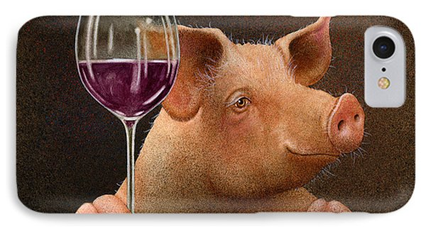 IPhone Case featuring the painting This Little Piggy Went Wine Tasting... by Will Bullas