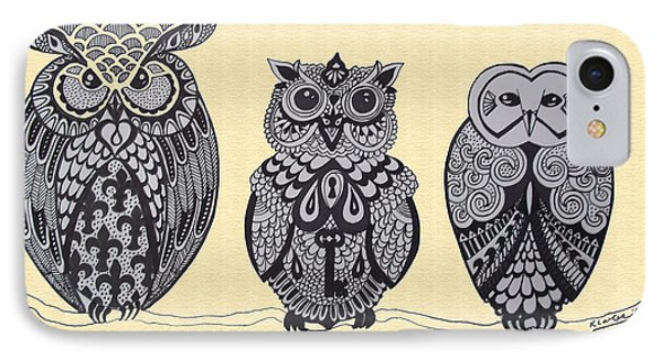 Three Owls On A Branch Phone Case by Karen Larter
